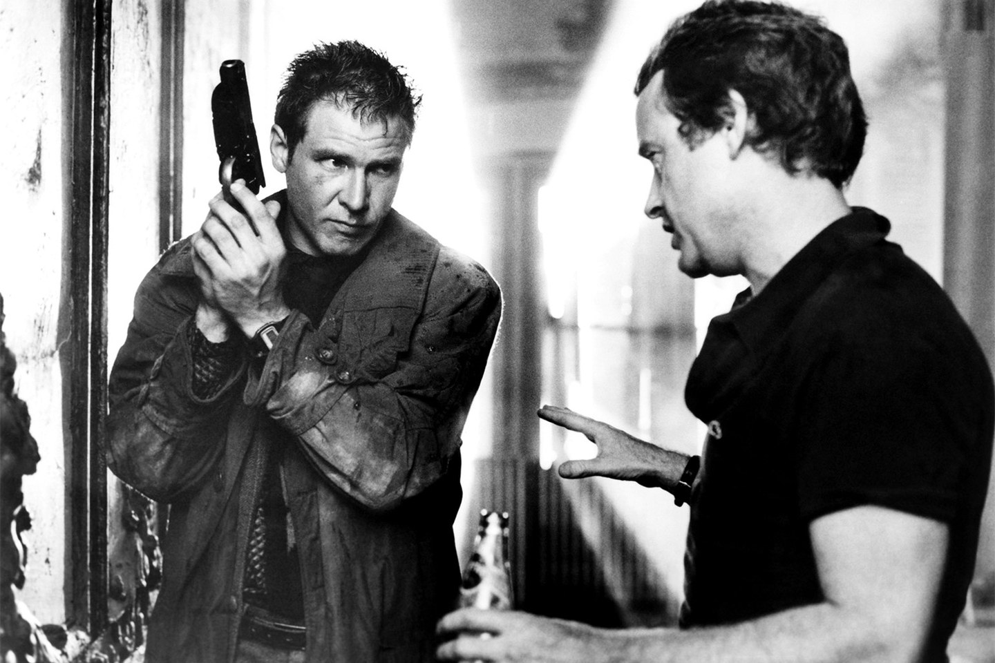 Harrison Ford e il regista Ridley Scott sul set di Blade Runner (1982)