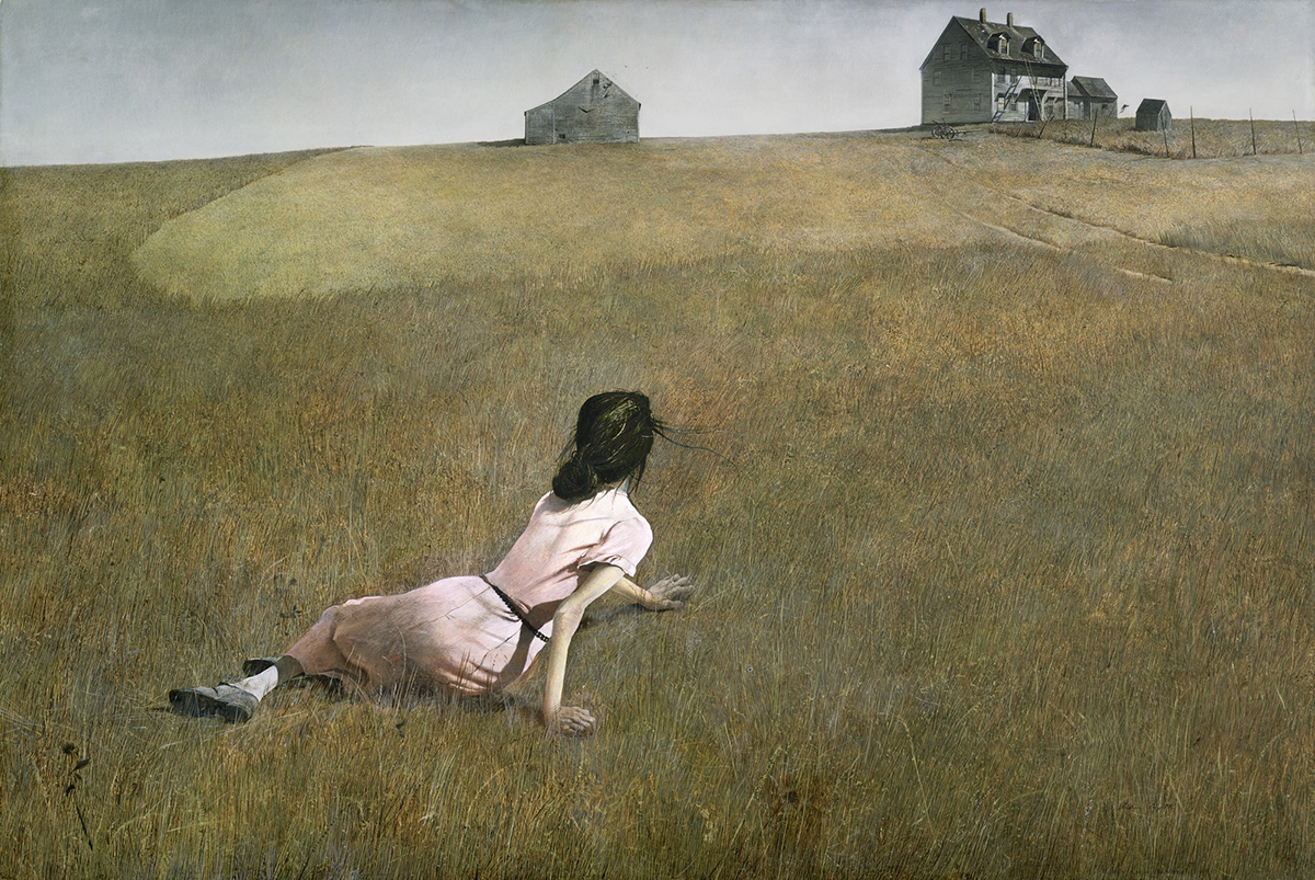Andrew Wyeth, Christina's World (1948). Pittura a tempera, Levkas