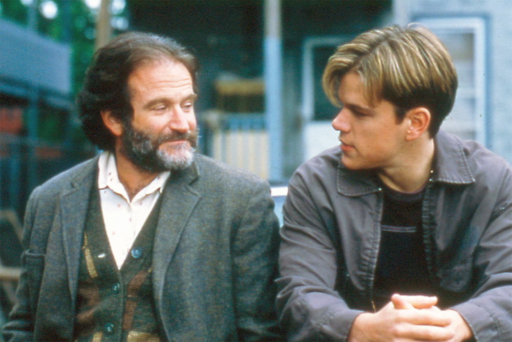 Robin Williams e Matt Damon in un'immagine dal film Will Hunting, di Gus Van Sant