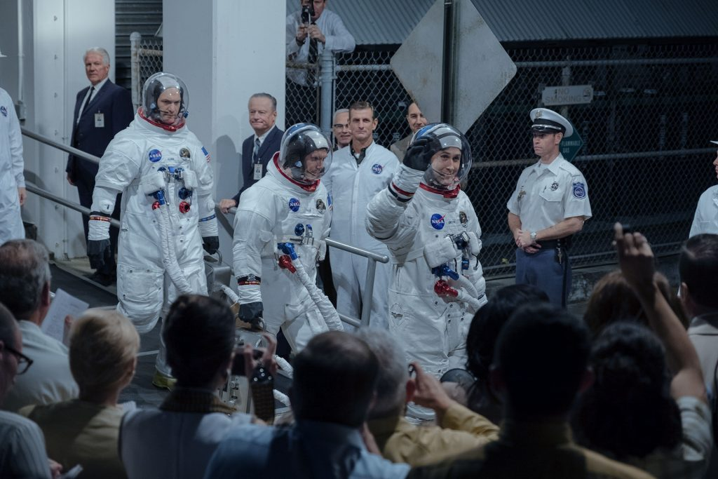 I tre cosmonauti Armstrong, Aldrin e Collins in First Man, di Damien Chazelle