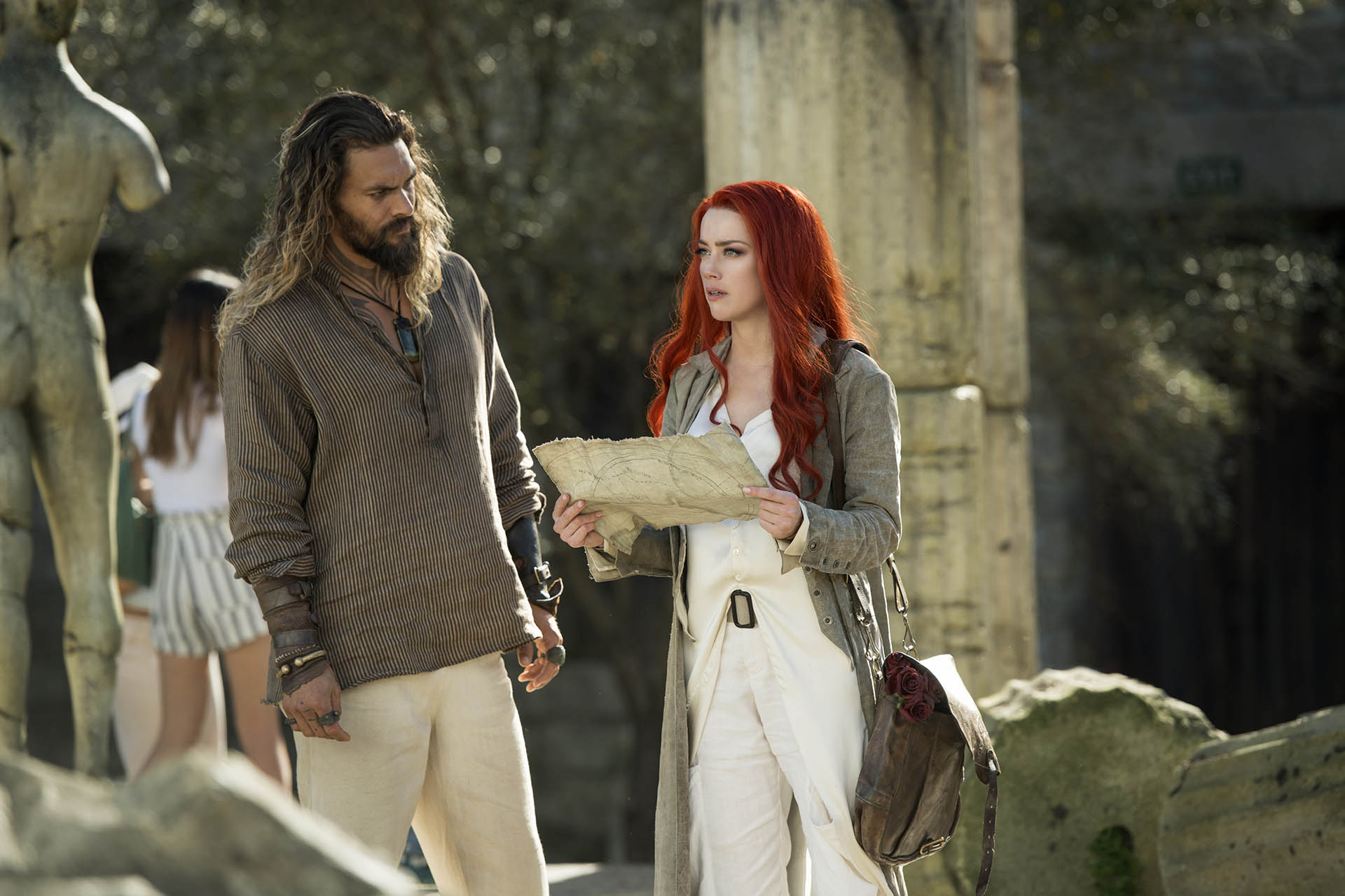 Jason Momoa e Amber Heard nel film Aquaman, diretto da James Wan e prodotto da DC Entertainment