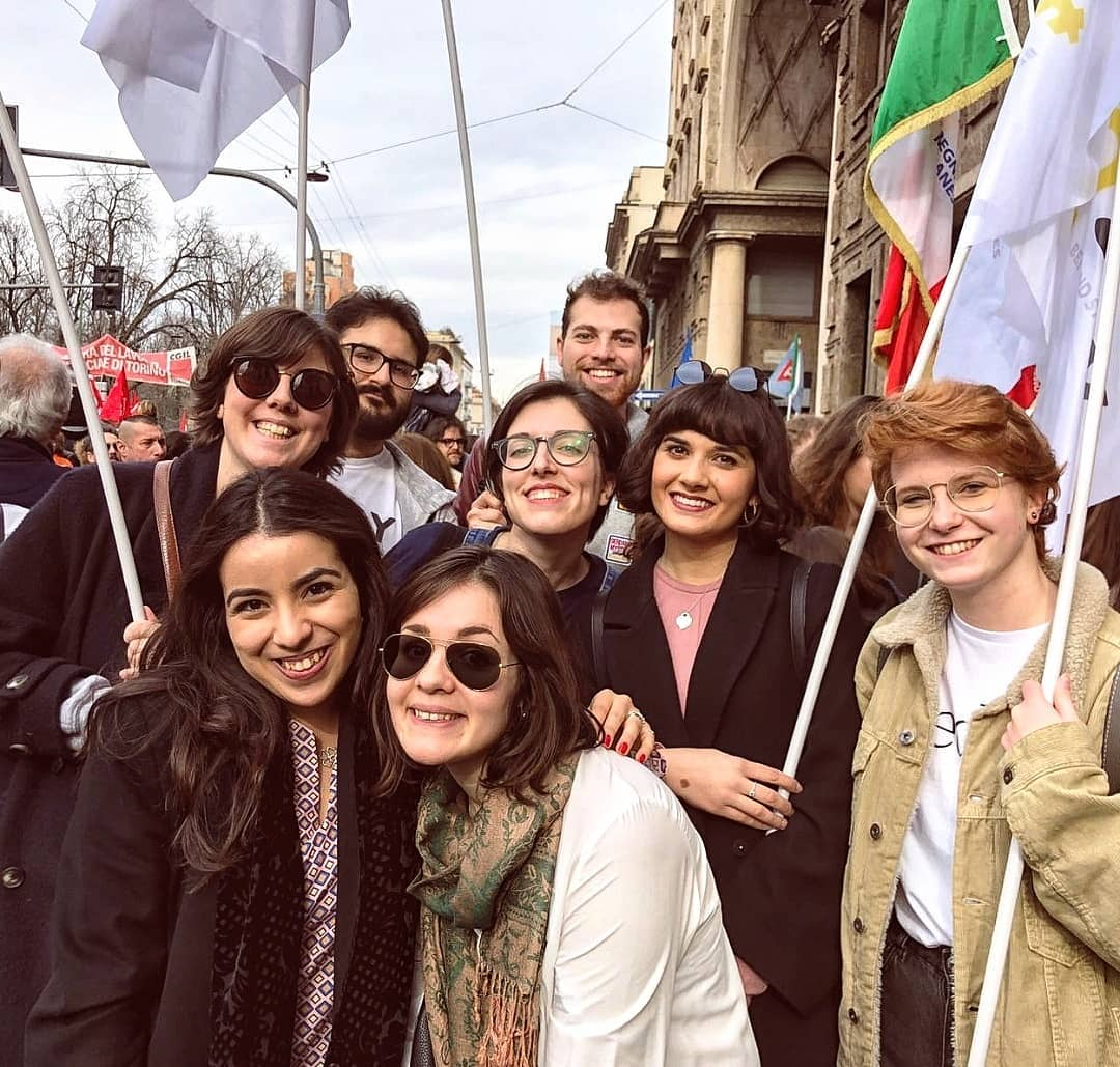In foto, Martina Cera con altri attivisti durante la manifestazione People 2 March a Milano.