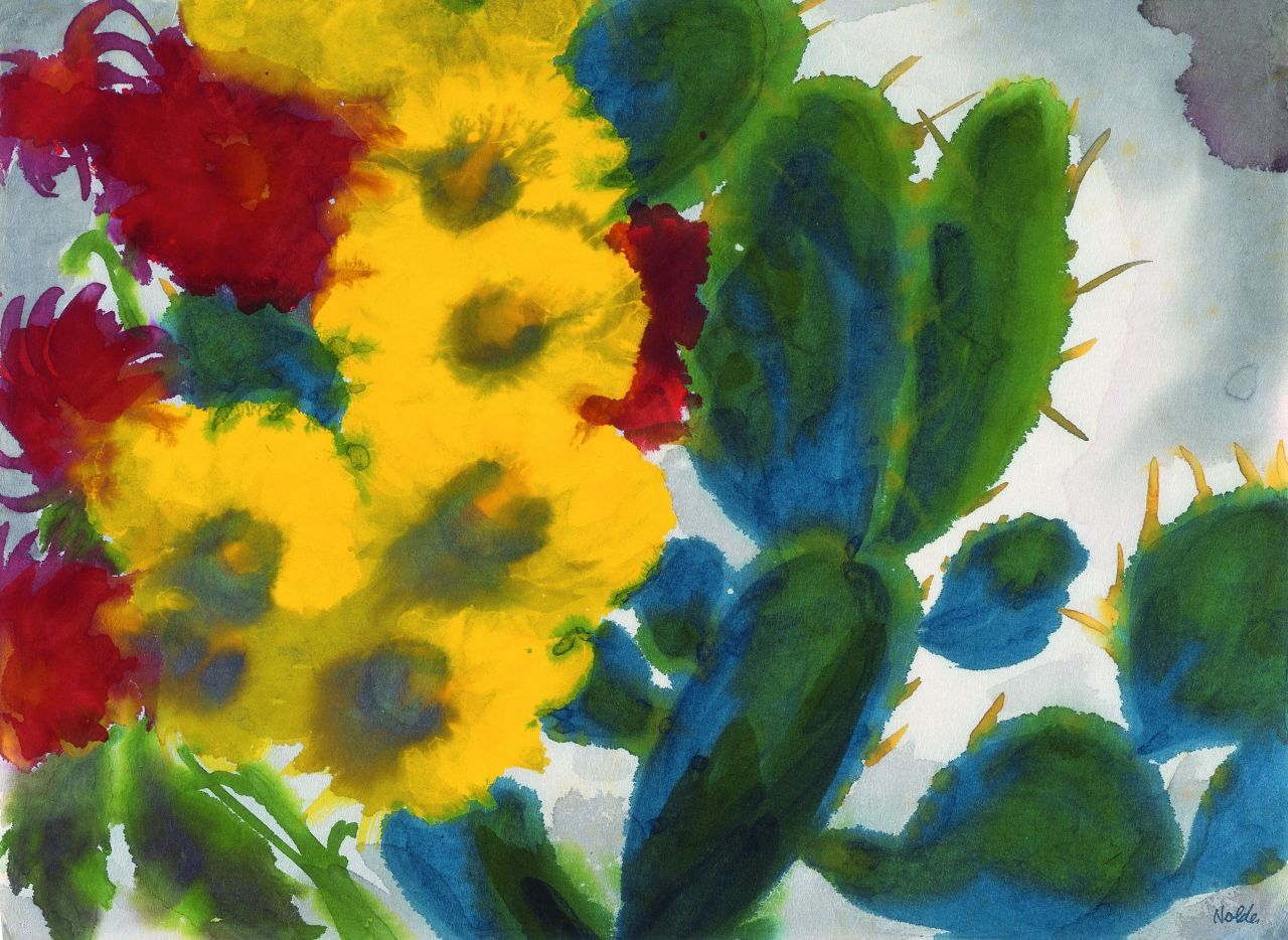 Red and Yellow Summer Flowers and Cacti, Emil Nolde