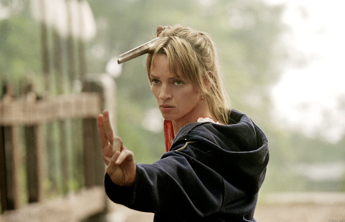 Uma Thurman in una foto di scena di Kill Bill: Volume 1 (Quentin Tarantino, 2003)