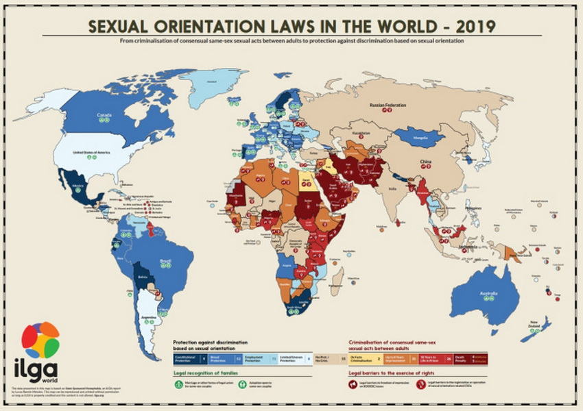 Secondo un rapporto dell'International Lesbian and Gay Association (ILGA) del 2019, mentre alcuni paesi (in blu) si impegnano al rispetto dei diritti della comunità LGBTQIA+, per altri (in rosso) la strada è ancora lunga e piena di ostacoli