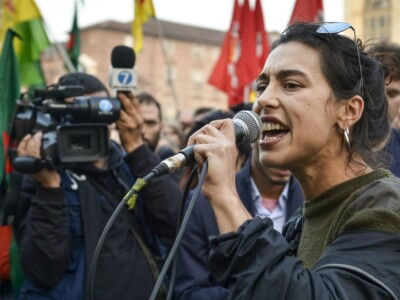 Foto LaPresse/Nicolò Campo  12/10/2019 Torino (Italia)  Cronaca Presidio contro l'invasione turca del Rojava in sostegno del popolo Curdo e delle forze armata YPG e YPJ Nella foto: Maria Edgarda Marcucci  Photo LaPresse / Nicolò Campo 12/10/2019 Turin (Italy) News Presidium against the Turkish invasion of Rojava in support of the Kurdish people and the YPG and YPJ armed forces  In the picture: Maria Edgarda Marcucci