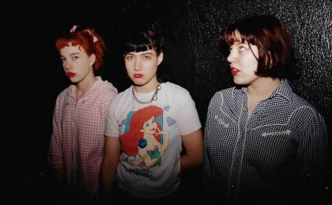 Hanna with her Bikini Kill bandmates Kathi Wilcox (left) and Tobi Vail in the 1990s.